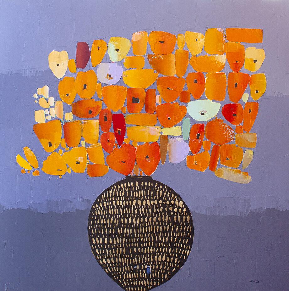 "Big Ole Splashy Party - 48"" x 48"" - acrylic and gold leaf on canvas"