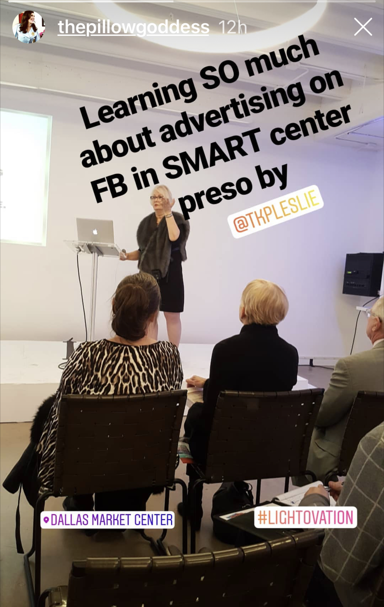 Leslie Carothers, CEO of Savour Partnership and The Kaleidoscope Partnership, speaking about Facebook advertising in the Smart Center at Lightovation 2019 during Dallas Market, as featured in Deborah Main's Insta Story .jpg