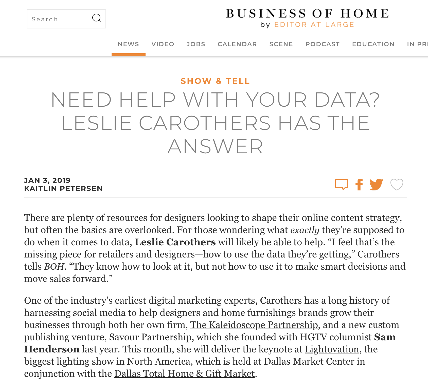 Leslie Carothers interviewed on Business of Home/Editor At Large