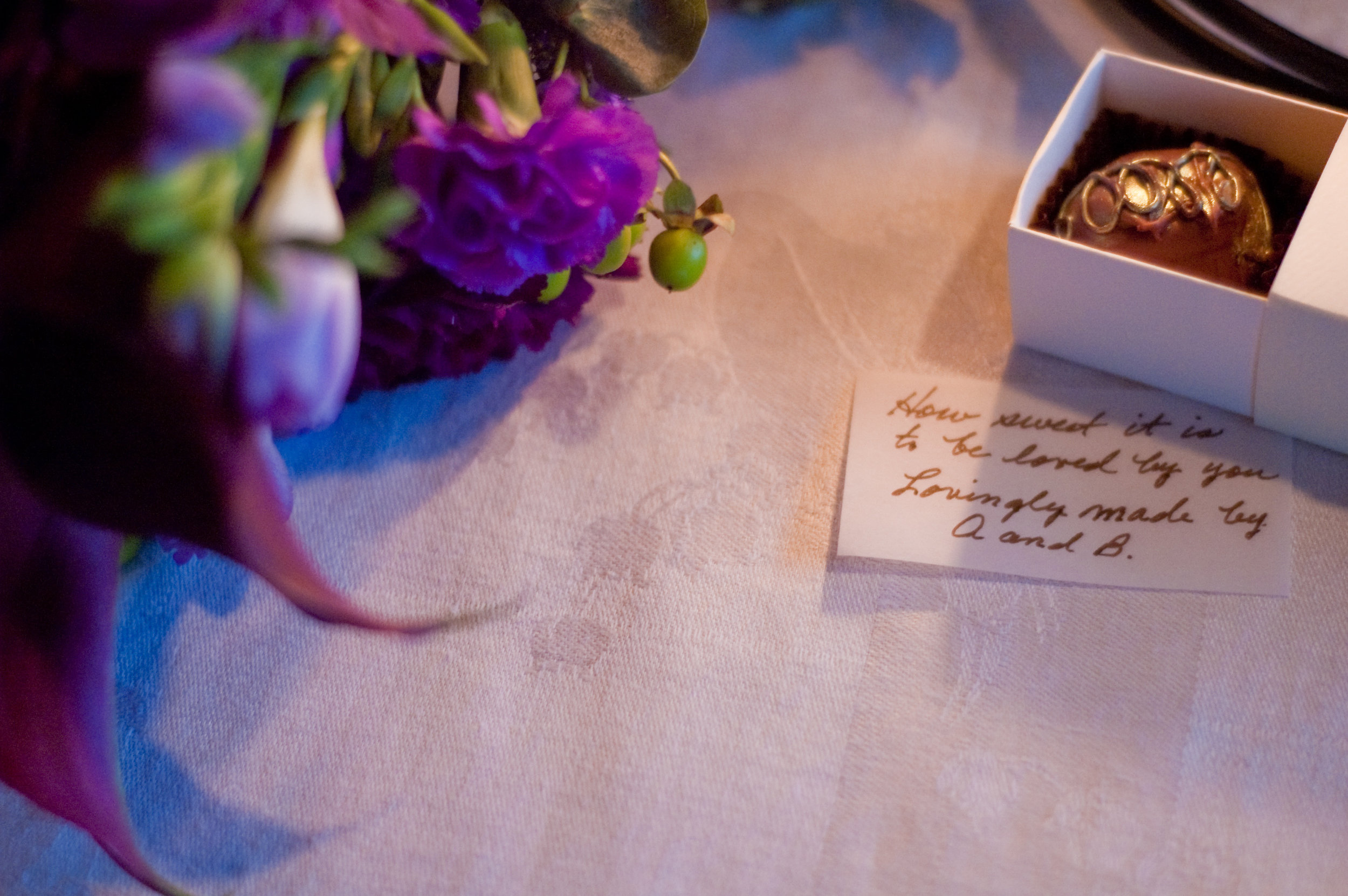 For Amanda's wedding, she and her husband made truffles and included a note handwritten by her grandmother.   Photography by Piper Moore.