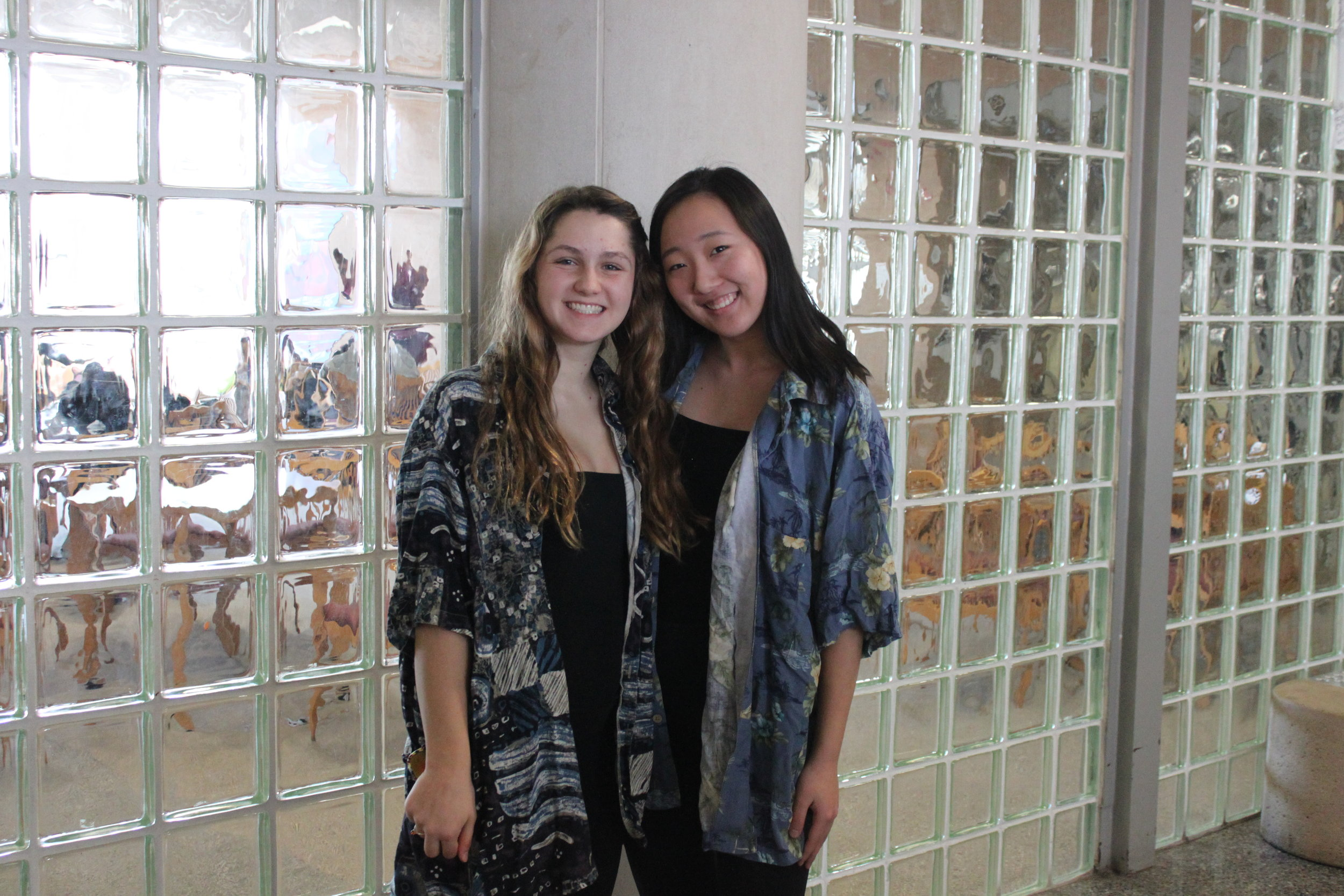 Best friends Sally Kim and Olivia Borowski match head to toe for Twin Day.