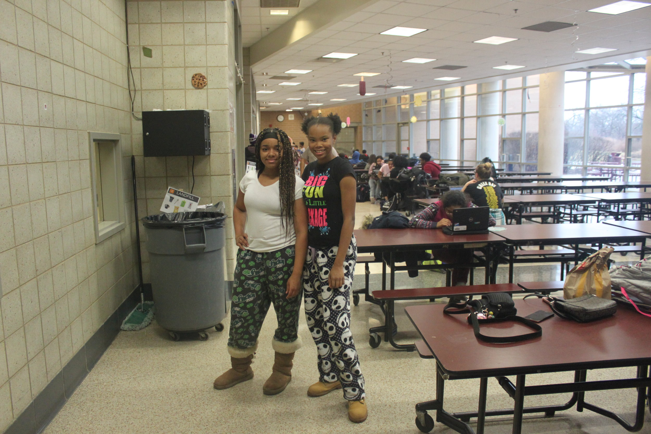 These sophomores show off their flannel pajama pants.