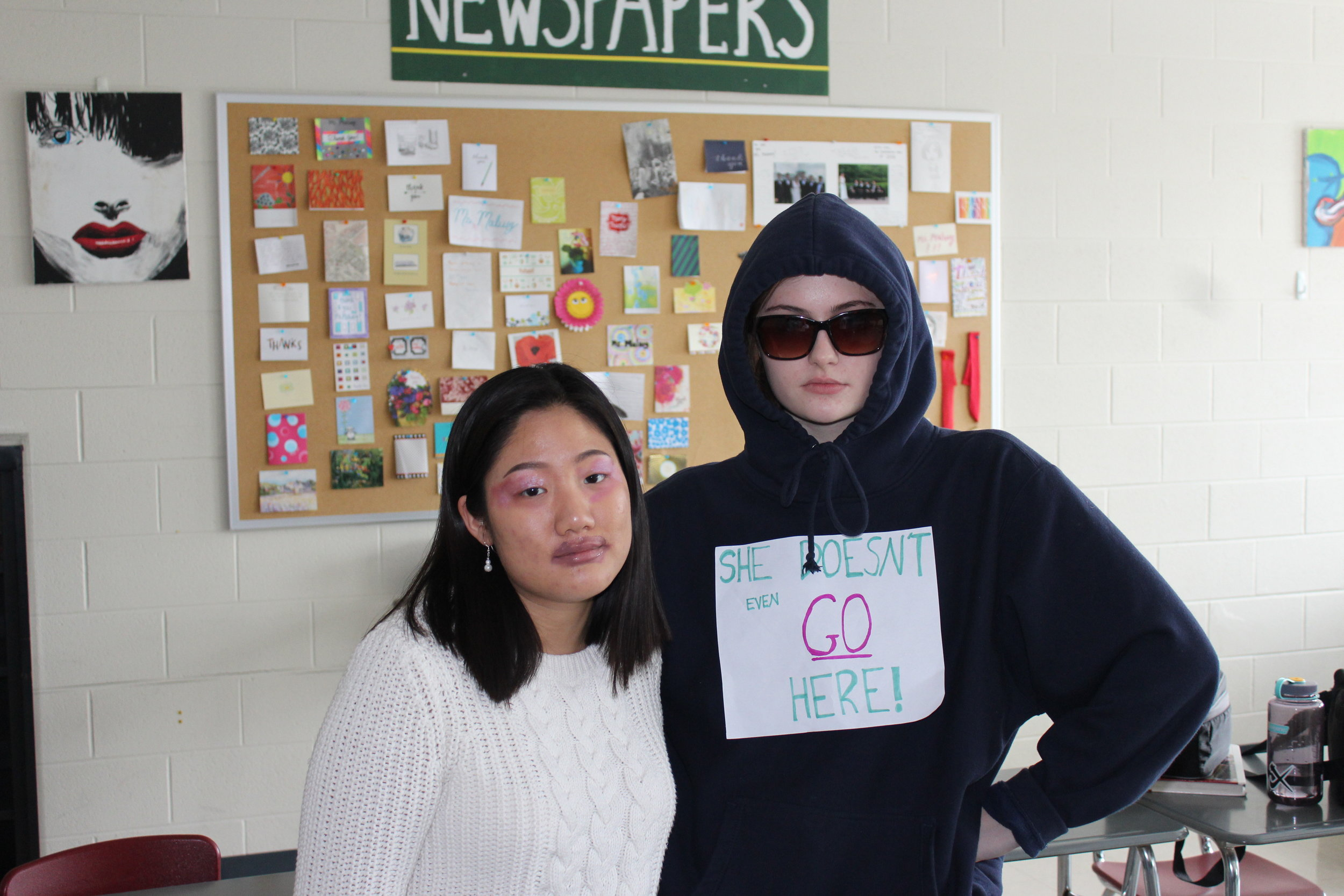 """Edina Hadzic, Adv. 905, and YooJin Yoon, Adv. 903, as the """"Mean Girls"""" and """"face on your makeup meme"""""""