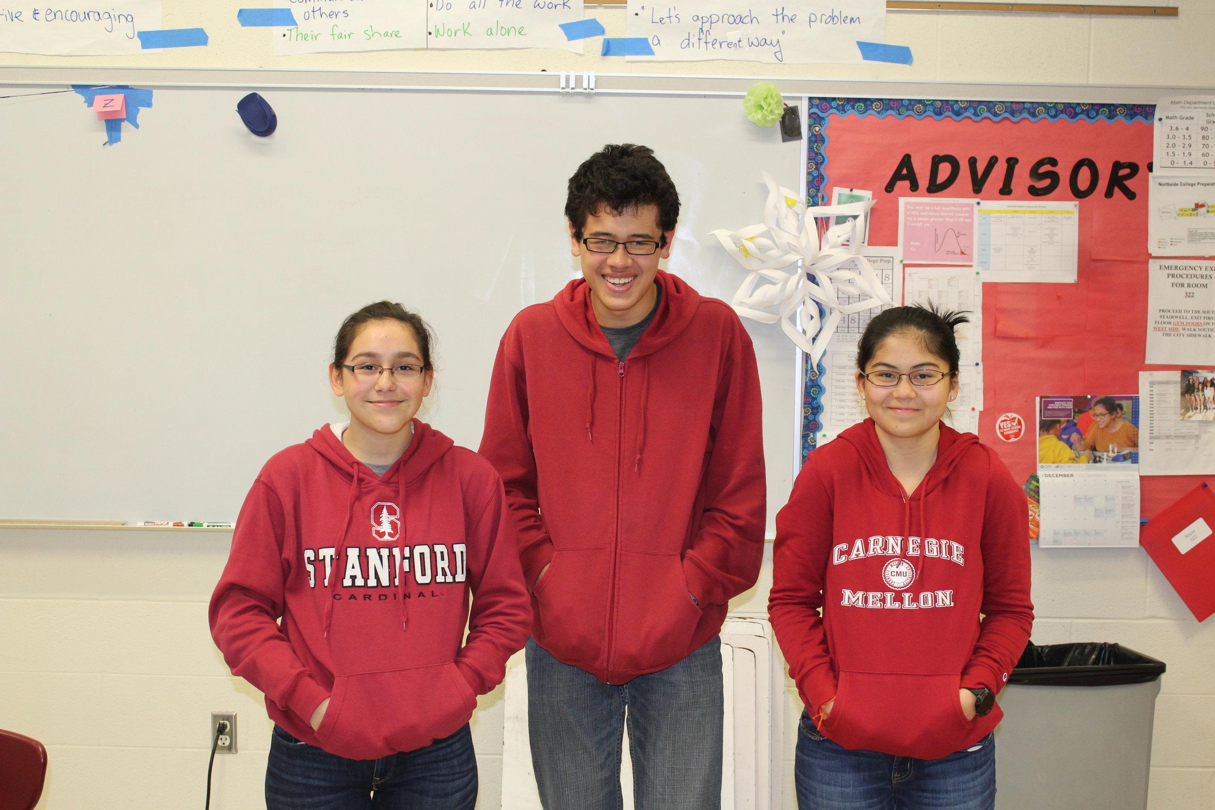 Gabriela Jimenez, Adv. 902, and Audrey McManus, Adv. 900, twinning as Robert Claud, Adv. 911, (center) for twin day