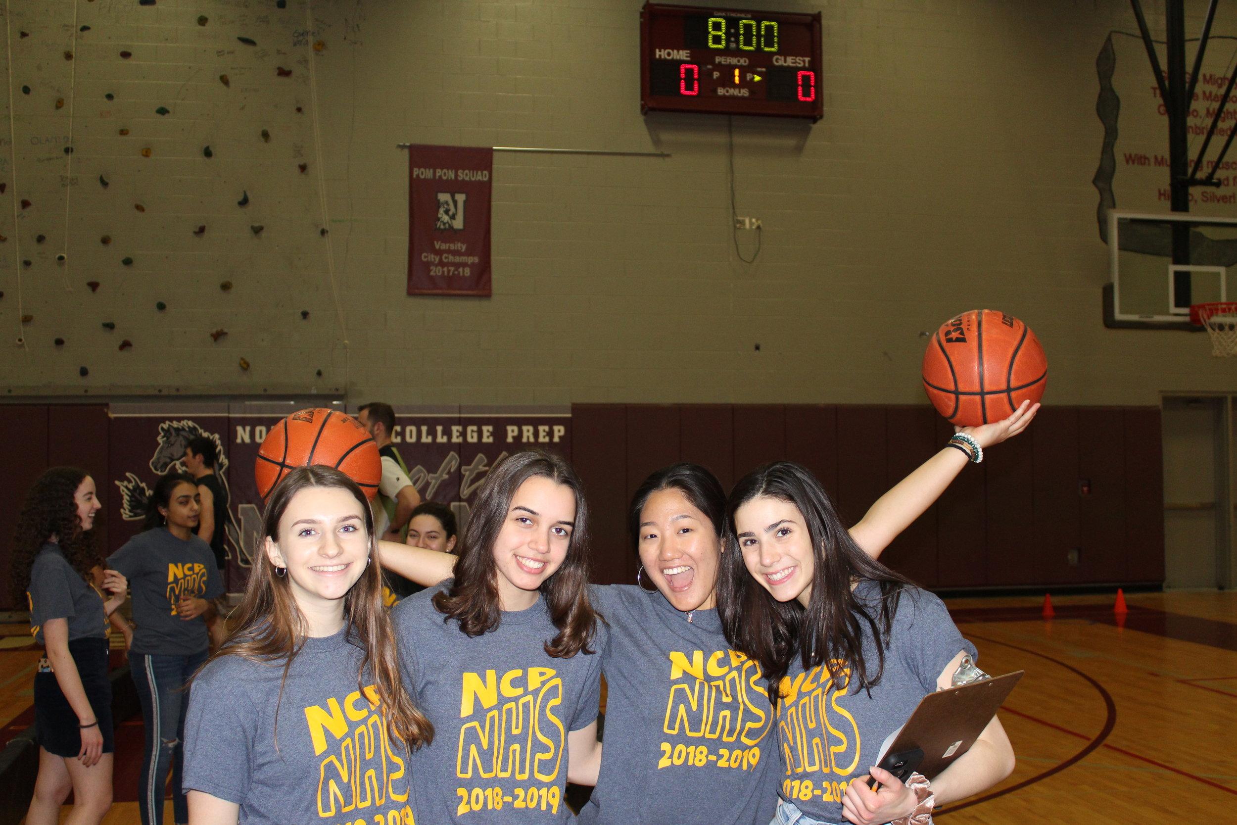 (Left to Right) Emilia Chojnacki Adv. 904, Isabella McLaughlin Adv. 900, Christina Yoon Adv. 903, and Hannah Shipley Adv. 903 Help Supervise the Tournament R.
