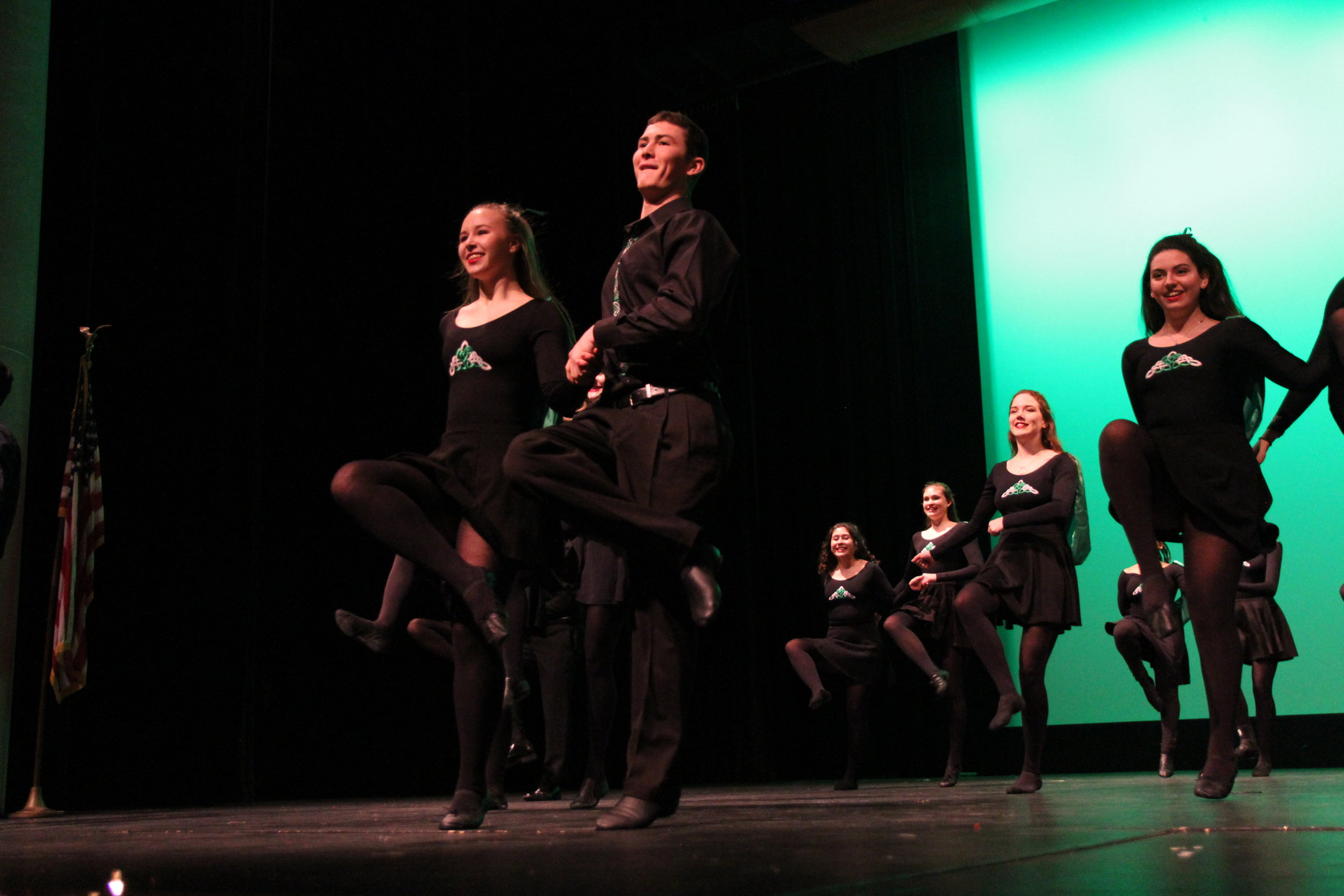 Jack Mullen, Adv. 906, and his partner, kick up a storm as they dance this traditional Irish jig