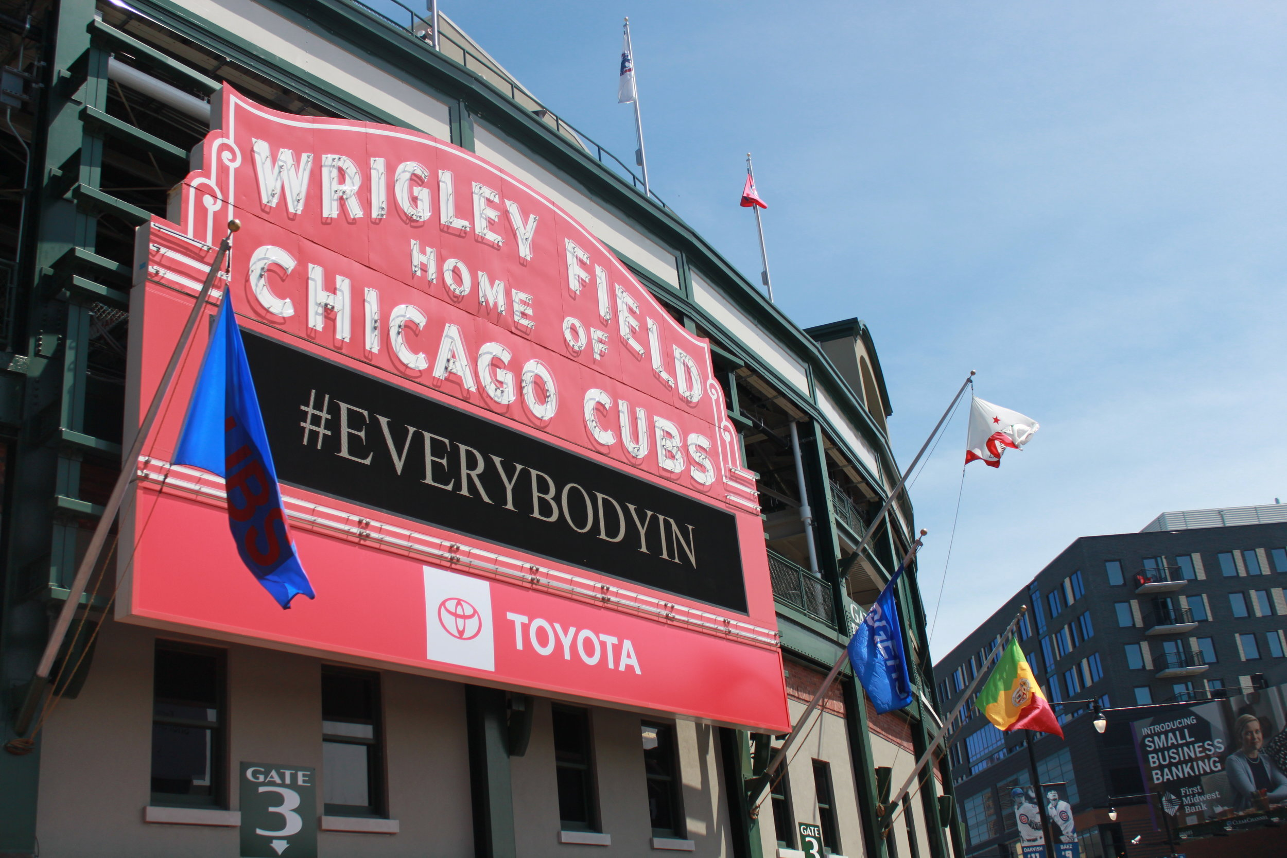 The famous sign on Wrigley Field