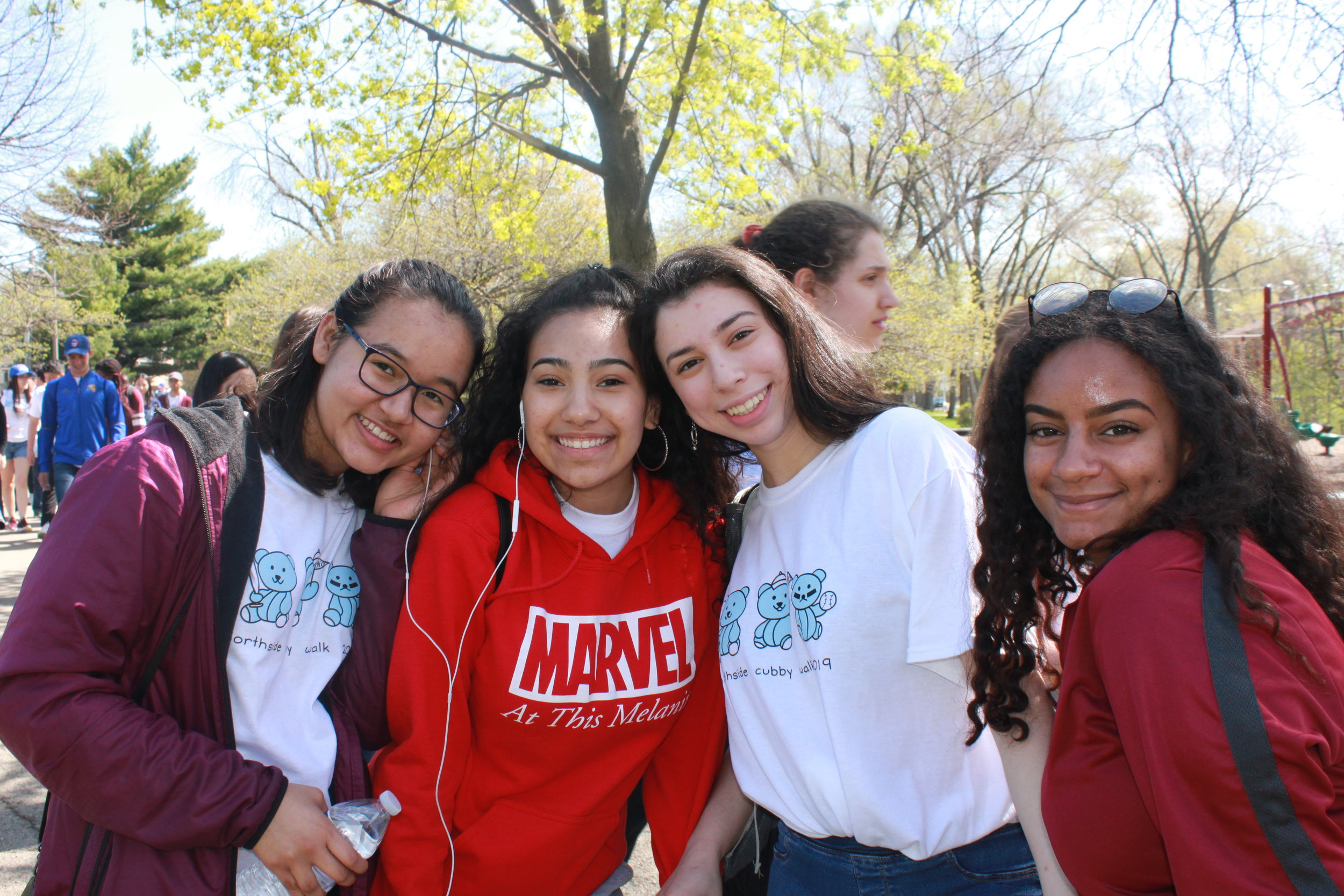 Sophomores smile at the beginning of the walk