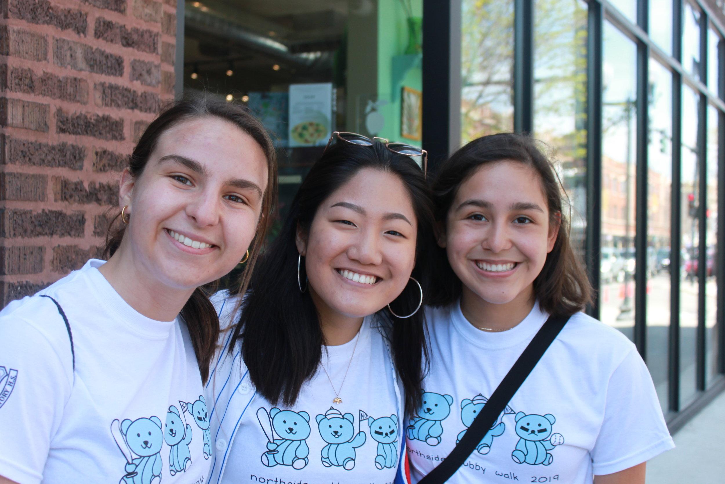 Kimberly Grabiec, Adv. 902, Christina Yoon, Adv. 903, and Gabriela Jimenez, Adv. 902 wear Kimberly's stunning shirt design