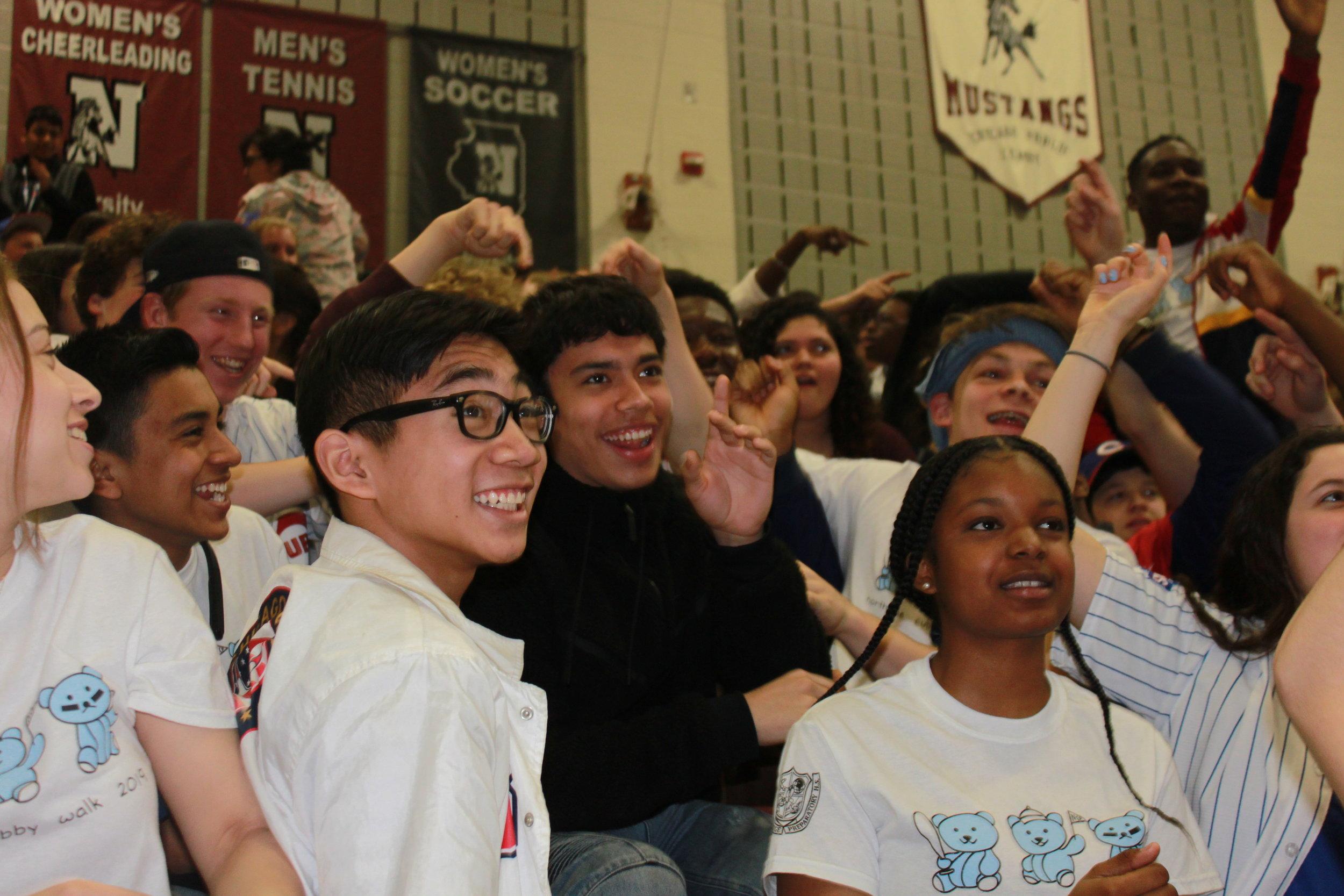 The Freshmen go crazy during the pep rally