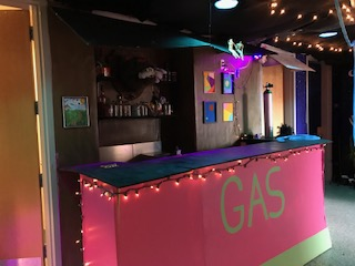During EWR sculpture students worked behind the bar serving drink and snacks with names following their space theme. Guest were allowed to order free drinks to further involve them in the space.