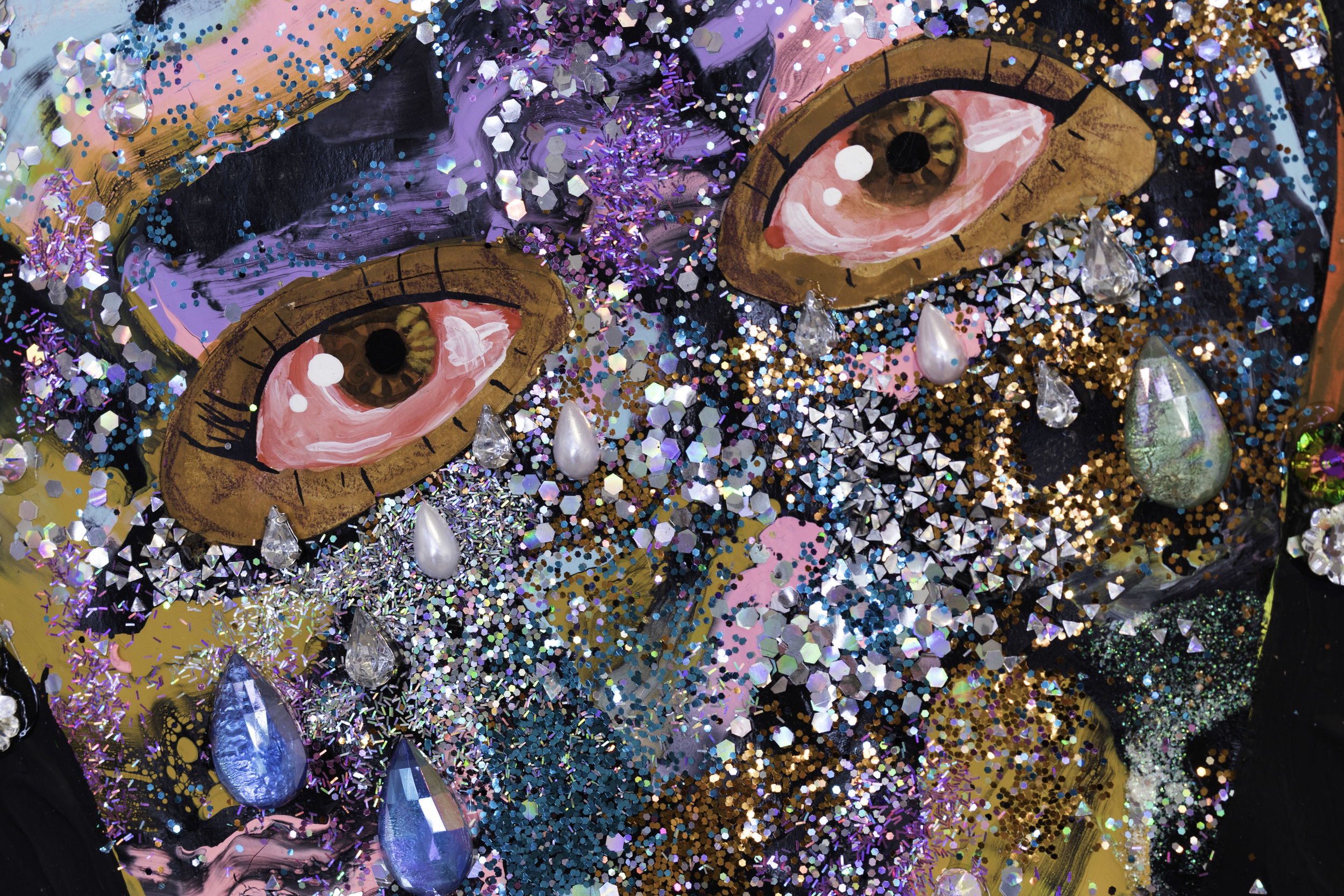 Jasmin Zelaya, Olympia (deatail), 2019, Gouache, acrylic, spray paint, ink, colored pencil, rhinestones, glitter, and gold leaf on paper, 7' x 5'