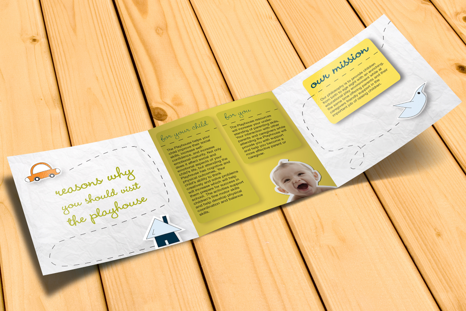 Trifold brochure design for the children's playhouse. Fun cut-out hand drawn elements are pieced together to make this a playful and happy design.