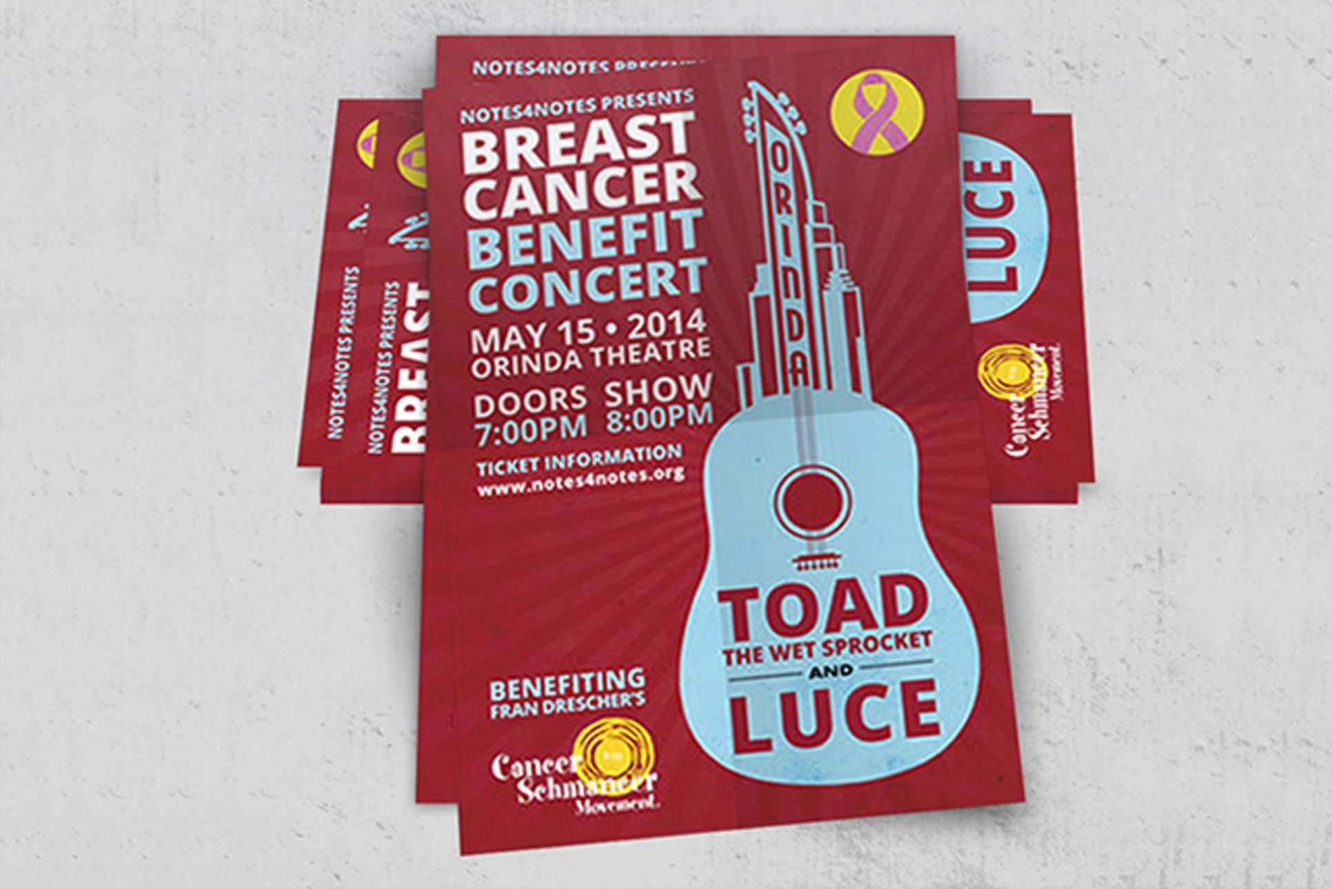 Flyer and handout for breast cancer benefit concert.