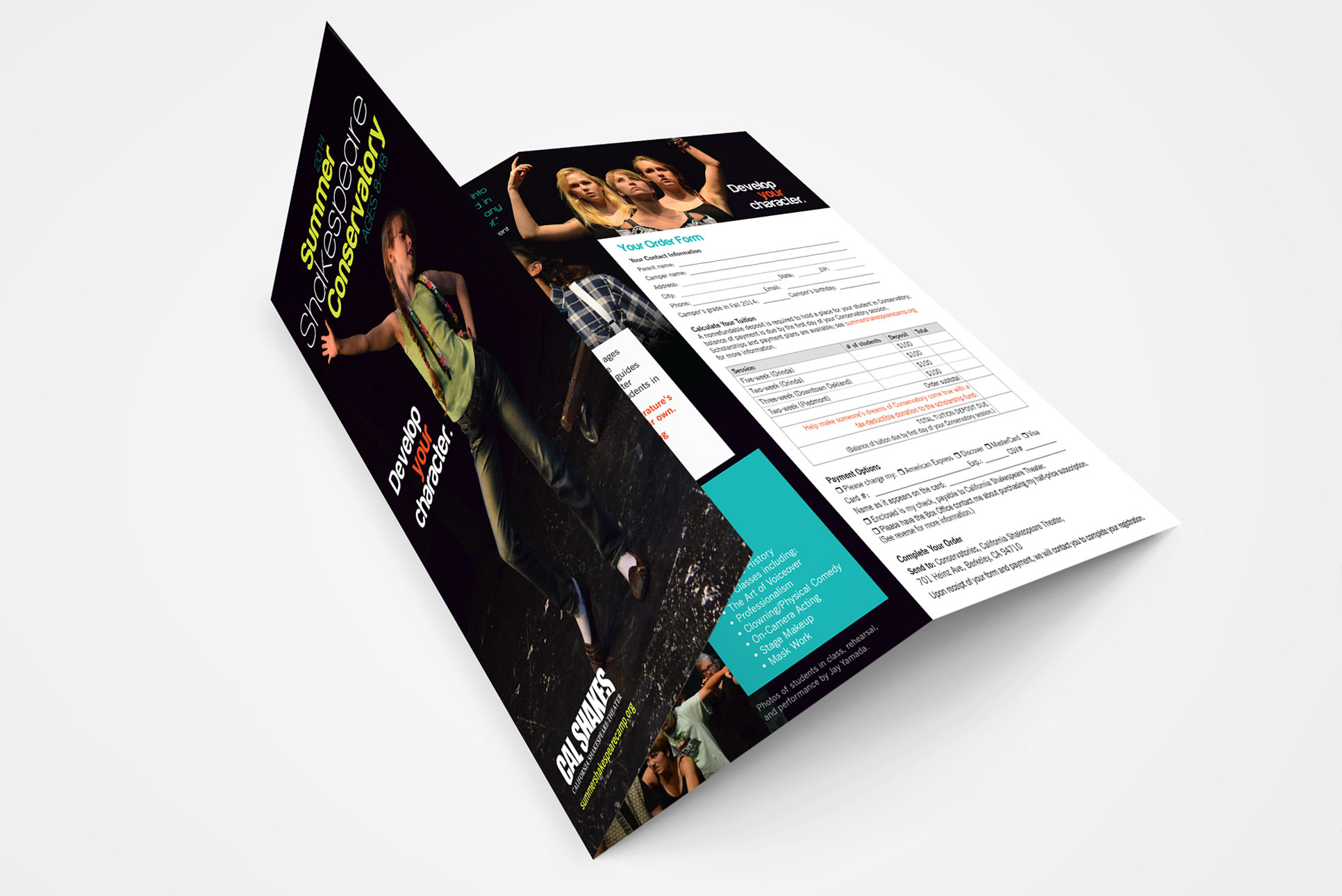 Trifold brochure design for nonprofit theater in Berkeley, CA.