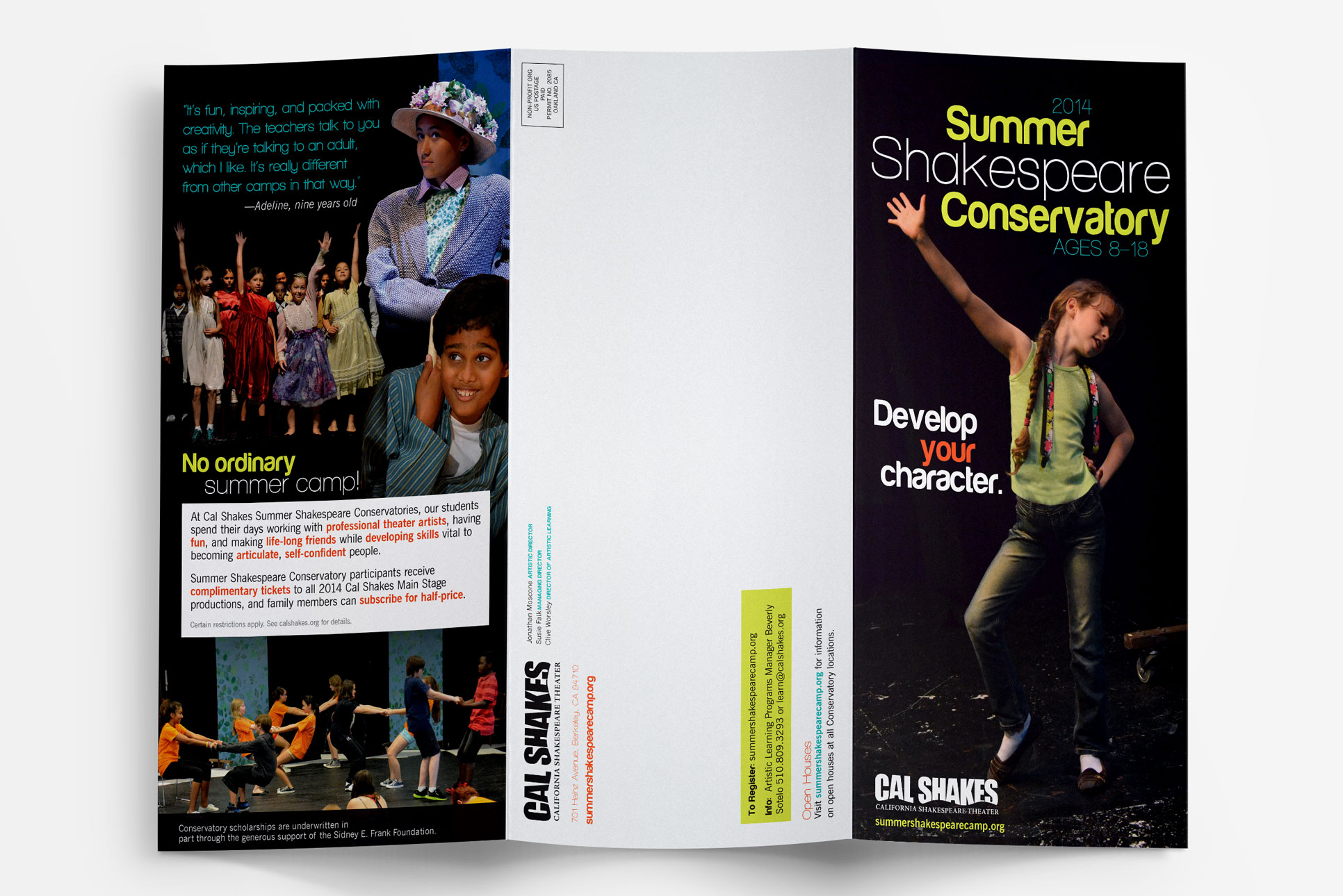 trifold marketing brochure for Cal Shakes theater