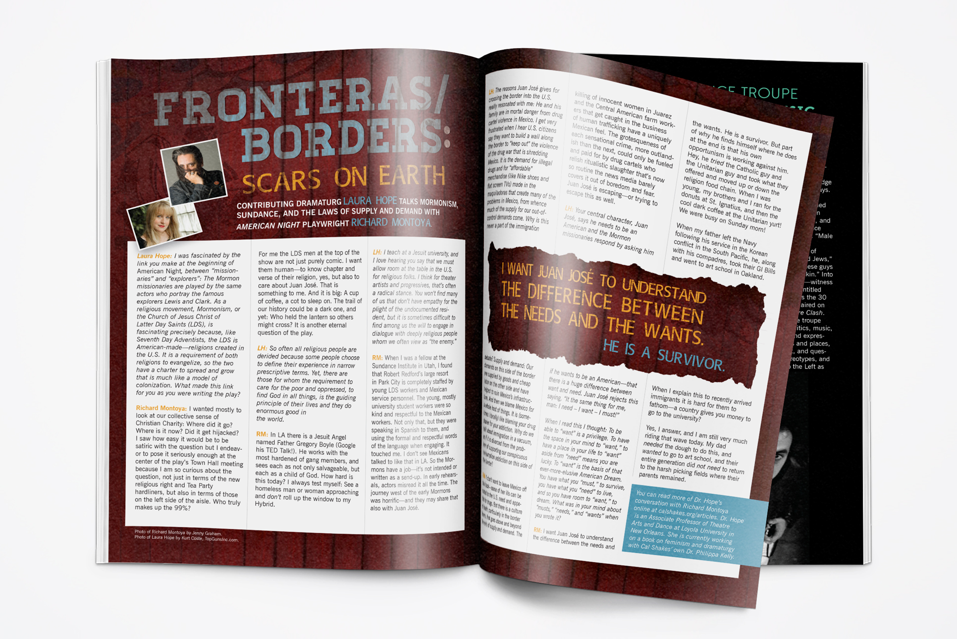 Spread from the editorial program book for the showing of American Night: the Ballad of Juan Jose.