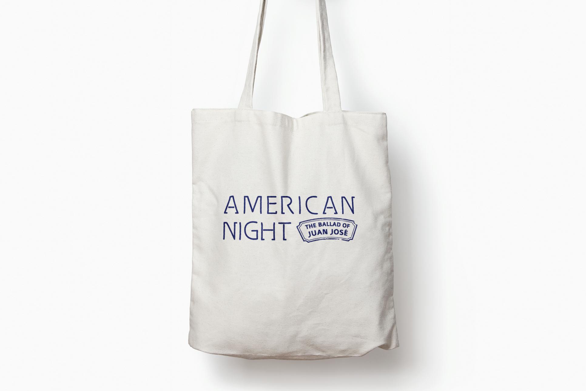 Tote bag with logo design for world premiere of American Night in Orinda, California.
