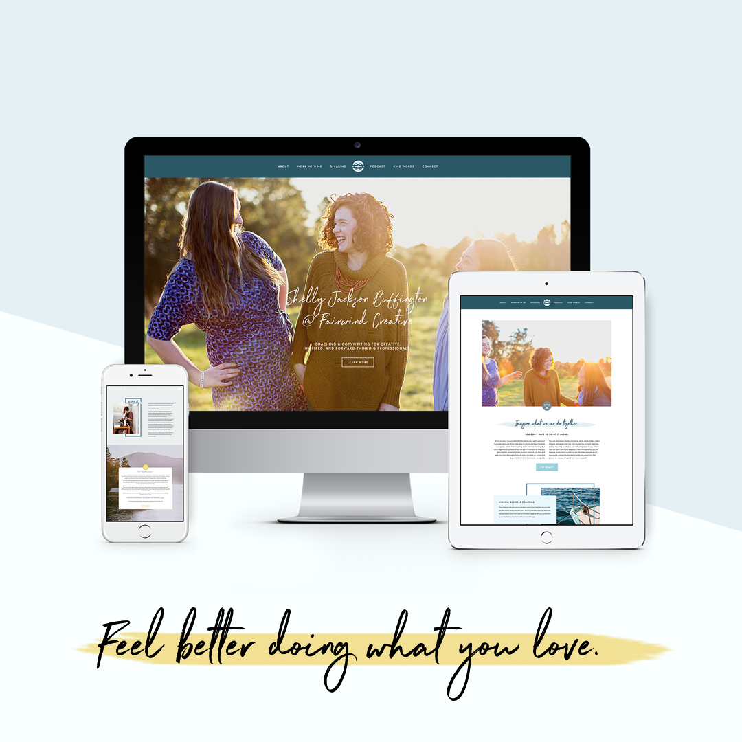 Responsive website custom made in Squarespace, complete with full branding kit.