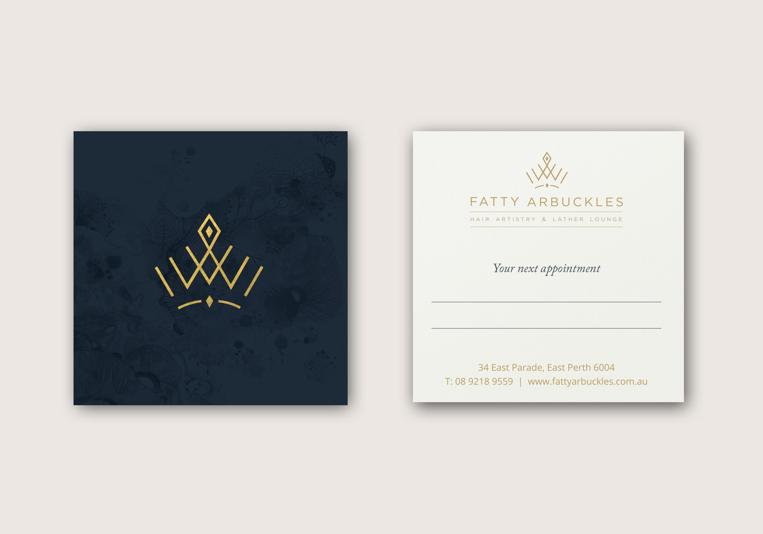 Modern, elegant, and classic business card design for a hair salon based in Perth, Australia.