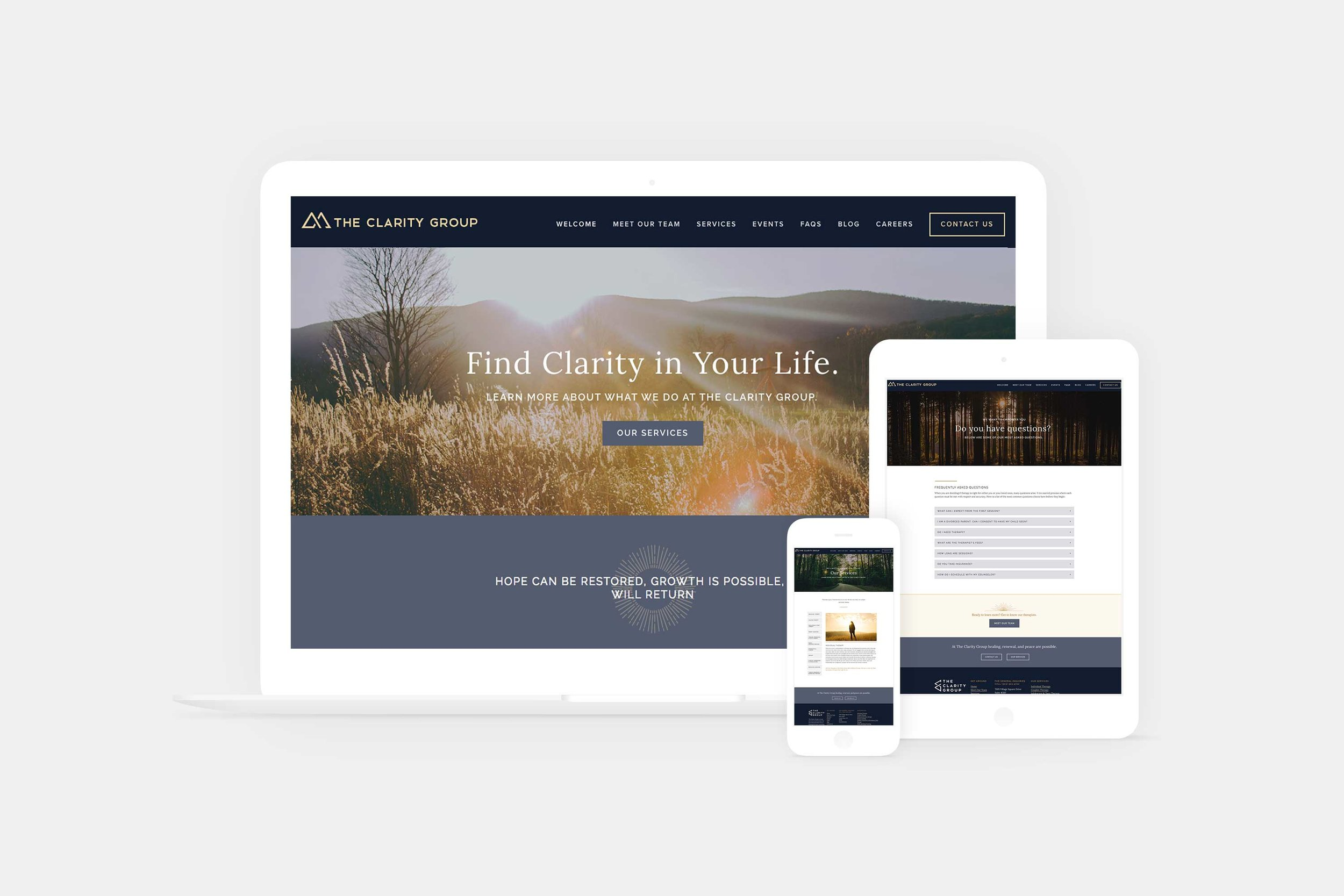 Website and branding for a counseling center in Denver, Colorado.