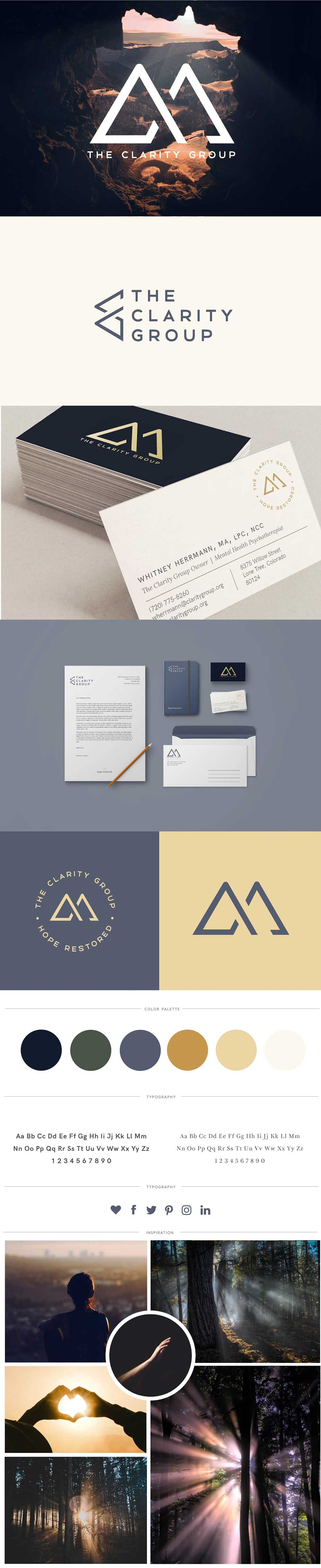 The Clarity Group Brandboard. Design and branding done by Callie Cullum Design.