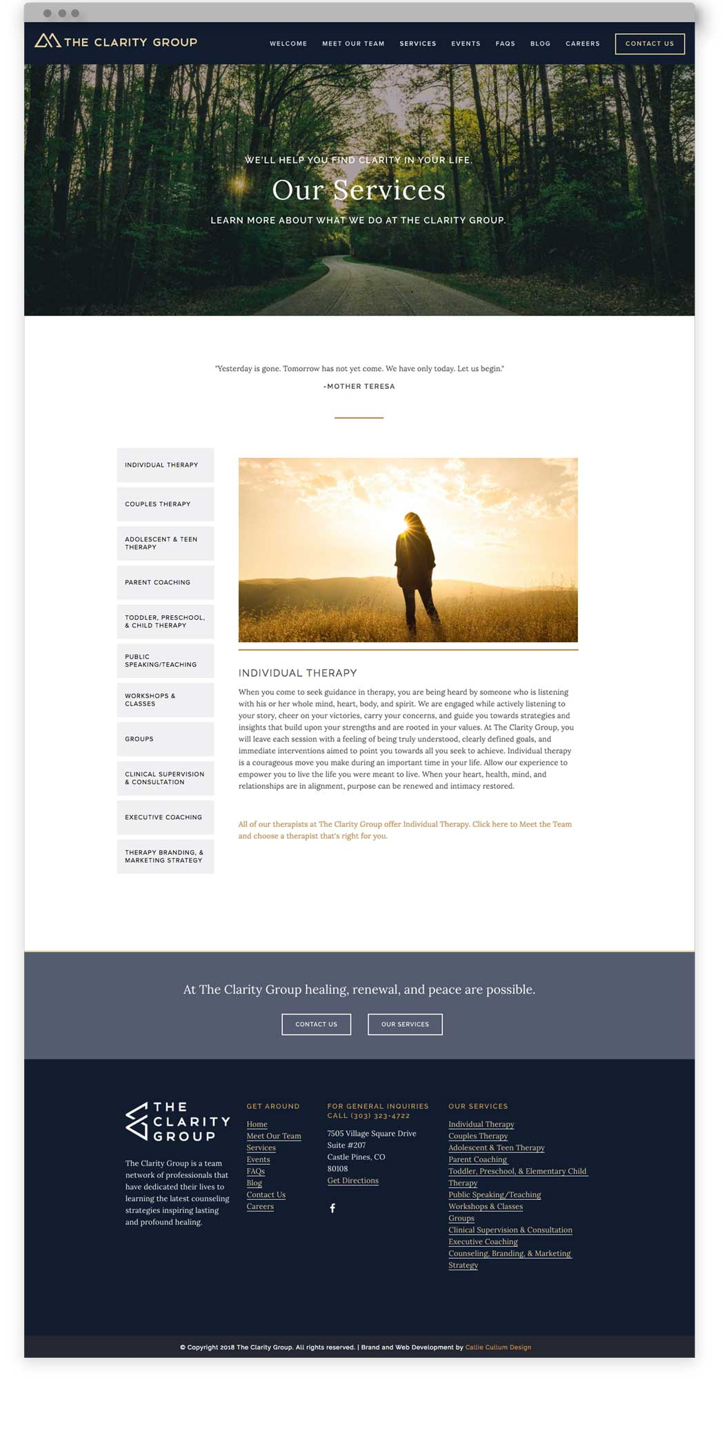 Website design for The Clarity Group, a therapy practice based outside of Denver, Colorado. The design was created by Callie Cullum Design.