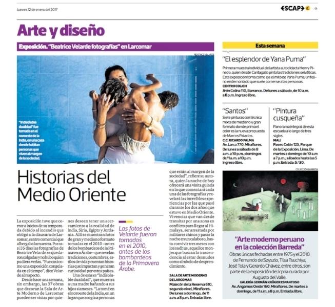 Diario El Comercio, suplemento Escape. Exposición BEATRICE VELARDE FOTOGRAFÍAS.