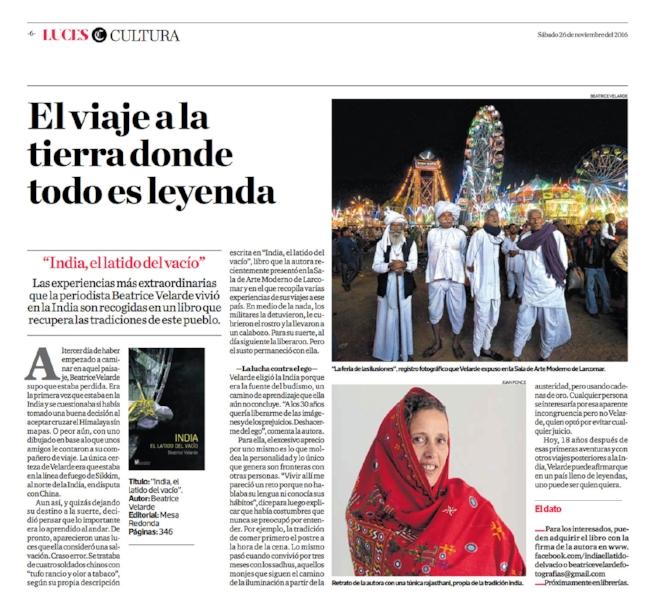 Diario El Comercio, suplemento Luces. Libro de narrativa INDIA EL LATIDO DEL VACÍO.