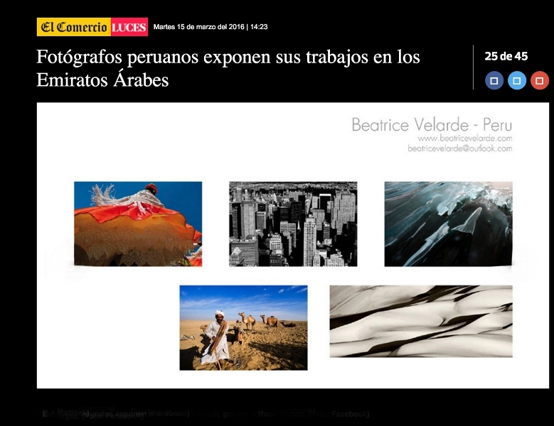 "El Comercio online. Exposición""INTERNATIONAL PHOTO DUBAI: PERUVIAN PHOTOGRAPHERS AND FRIENDS OF THE WOLD"""
