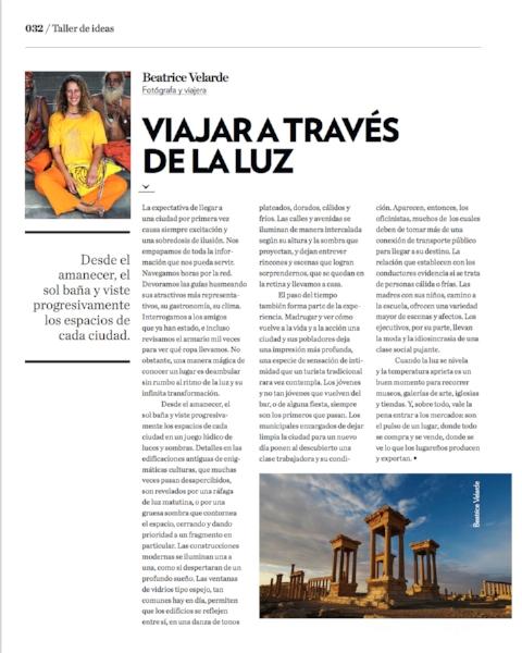 Revista Cosas. ENTREVISTA SOBRE COMO VIAJO GUIADA POR LA LUZ.
