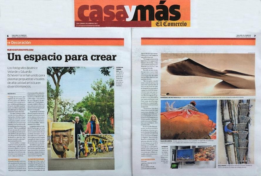 Diario El Comercio, suplemento Casas y Más. ESTUDIO FOTOGRÁFICO Y GALERÍA DE ARTE FOTO.COM