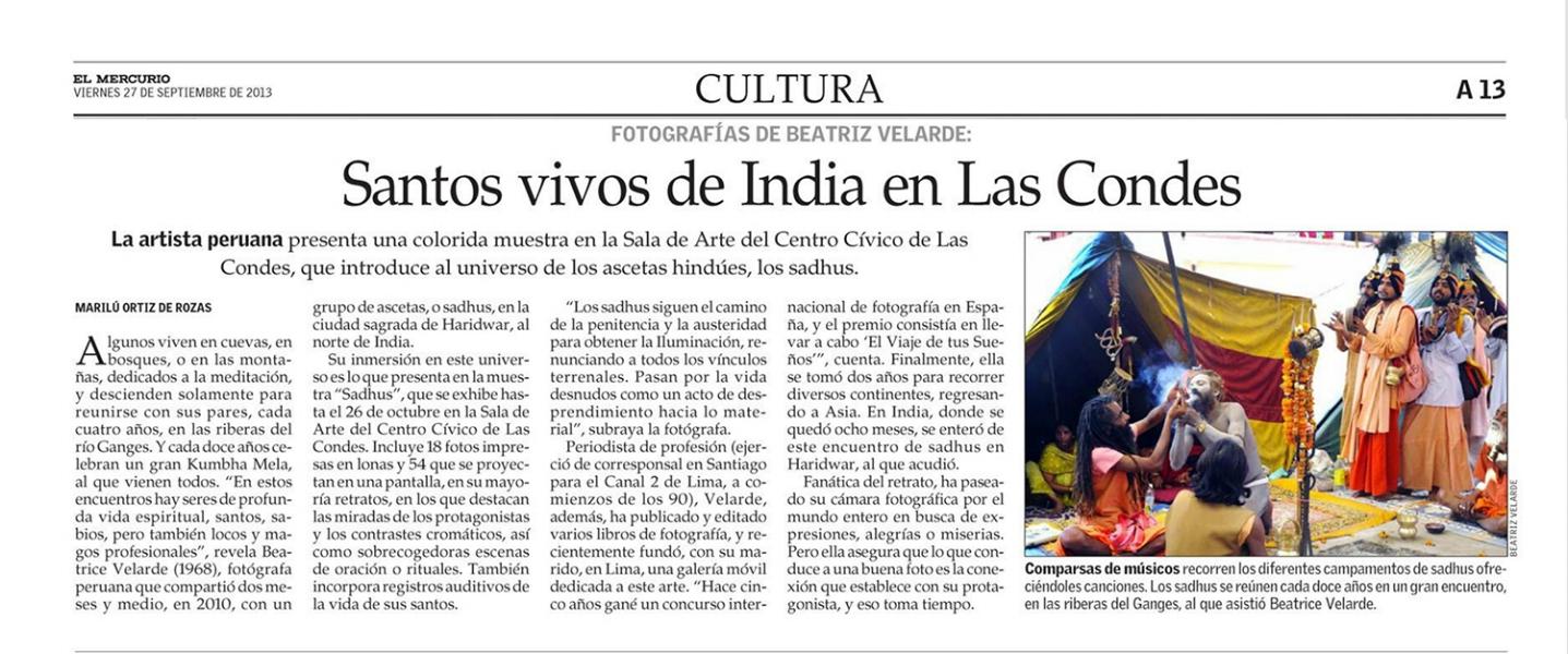 """Diario El Mercurio. Exposición """"SADHUS"""" en Santiago de Chile."""