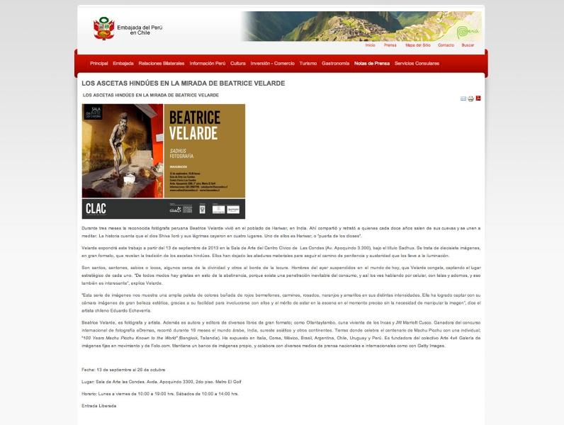"""Portal de la Embajada de Perú en Chile. Exposición """"SADHUS"""" en Santiago de Chile."""