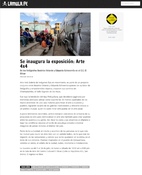 "Portal LaMula.Proyecto ""ARTE 4X4""."