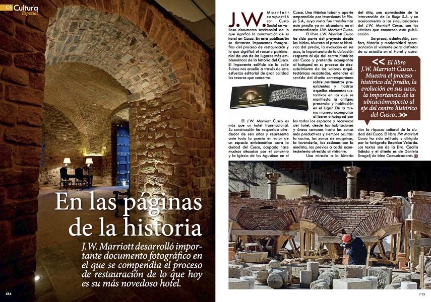 Revista Cusco Social. Libro JW MARRIOTT CUSCO.