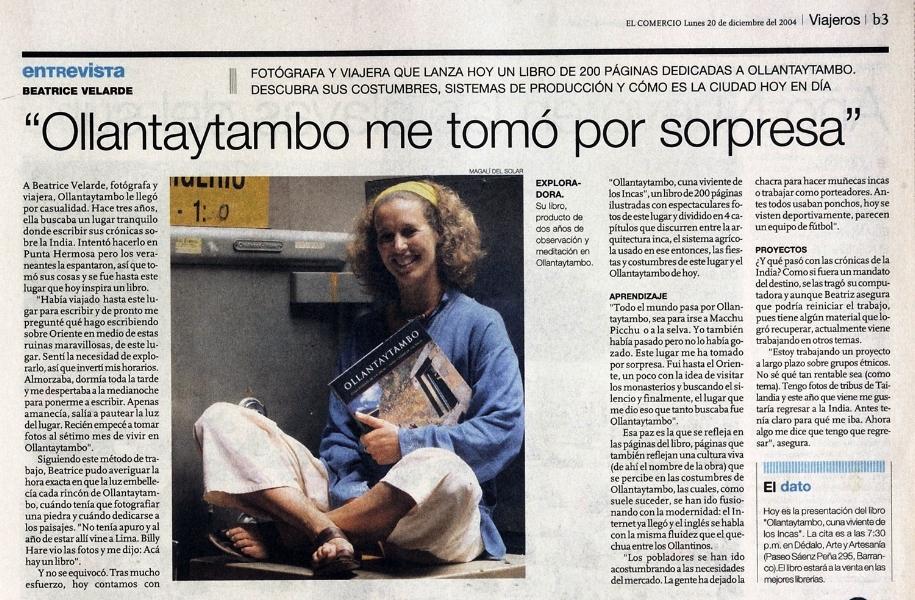 """Diario El Comercio.   Entrevista por libro fotográfico """"OLLANTAYTAMBO""""."""