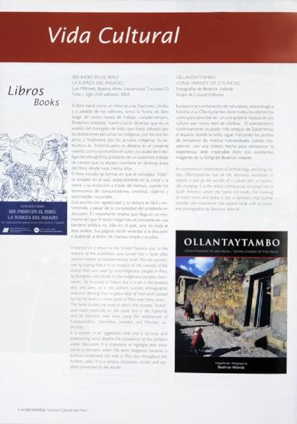 """Revista Chaski del Ministerio de Relaciones Exteriores. L  ibro fotográfico """"OLLANTAYTAMBO""""."""