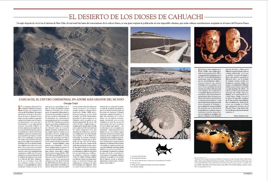 Revista Chasqui del Ministerio de Relaciones Exteriores. Libro NASCA EL DESIERTO DE LOS DIOSES DE CAHUACHI.