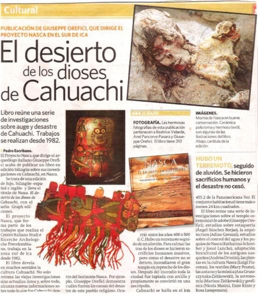 Diario La Republica. Libro NASCA EL DESIERTO DE LOS DIOSES DE CAHUACHI.
