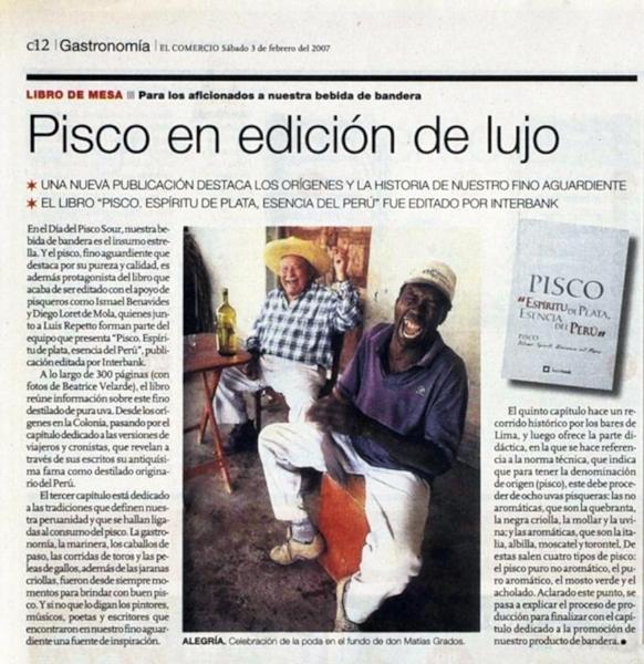 """Diario El Comercio. Libro """"PISCO ESPIRITU DE PLATA, ESENCIA DEL PERÚ""""."""