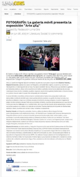 "Portal Lima Gris.Proyecto ""ARTE 4X4""."