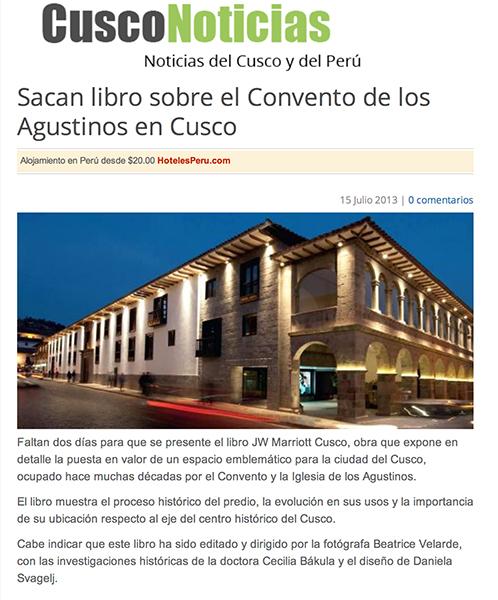 Revista Cusco Noticias. Libro JW MARRIOTT CUSCO.