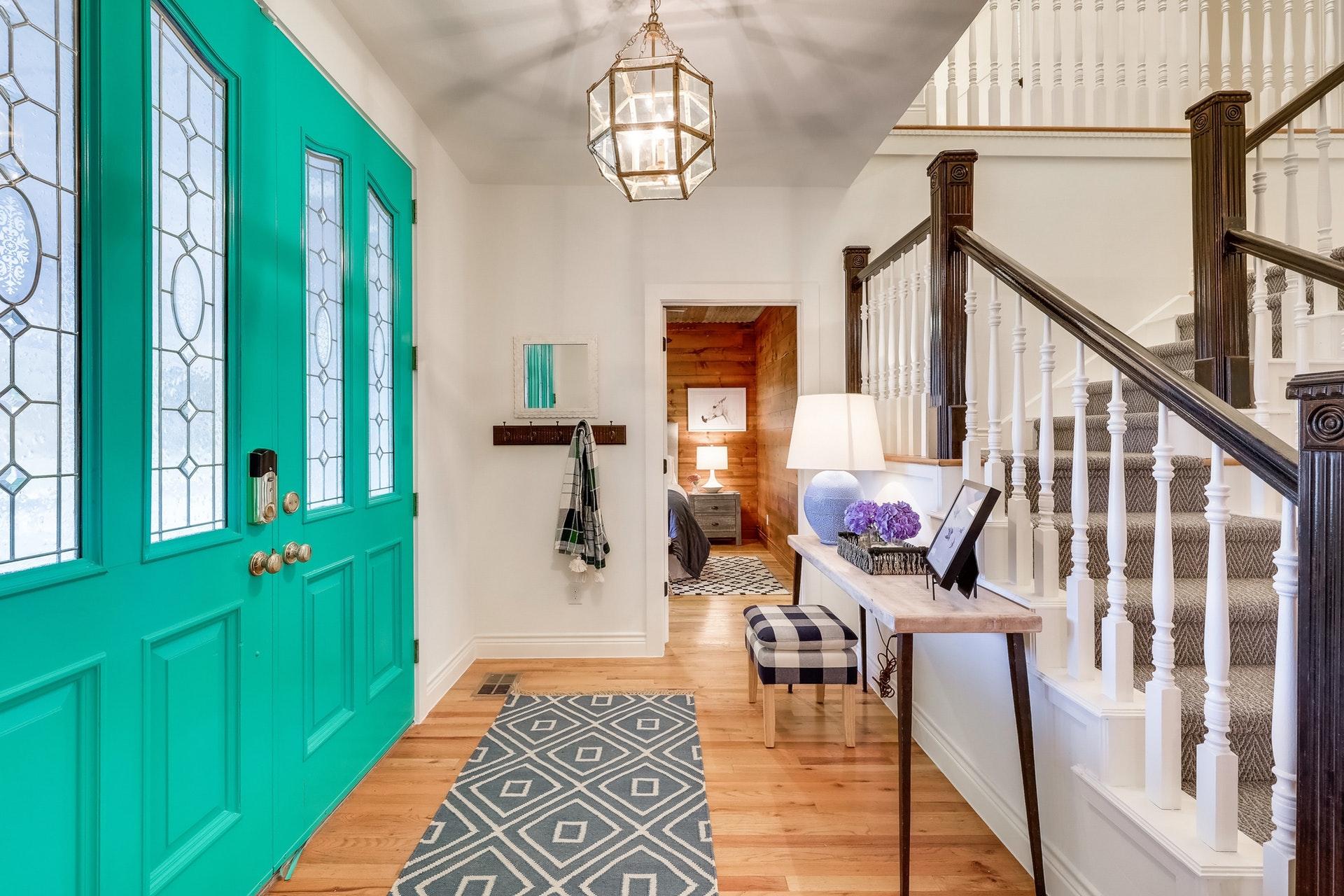Modern Farmhouse BnB Entry - Stair Carpet and Circa Fixture.jpg