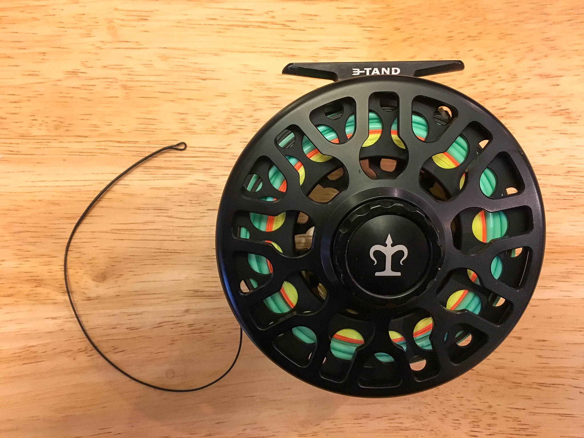 Spey reel loaded with a Skagit line system. From inside to outside: Yellow = backing, Orange = running line, Mint Green = Skagit Head, Black = Tip.
