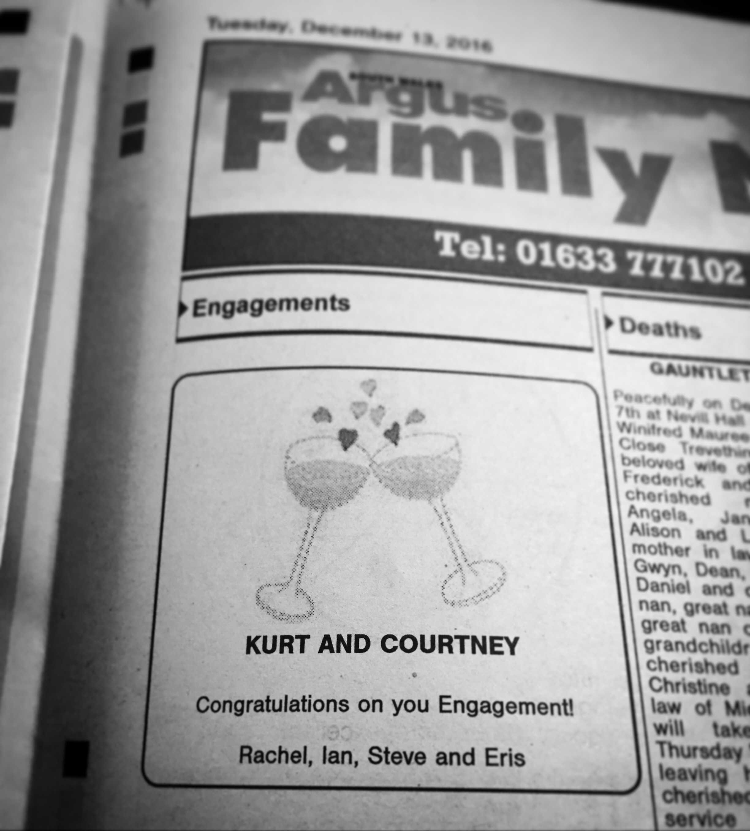 Adverts placed in the local paper… -