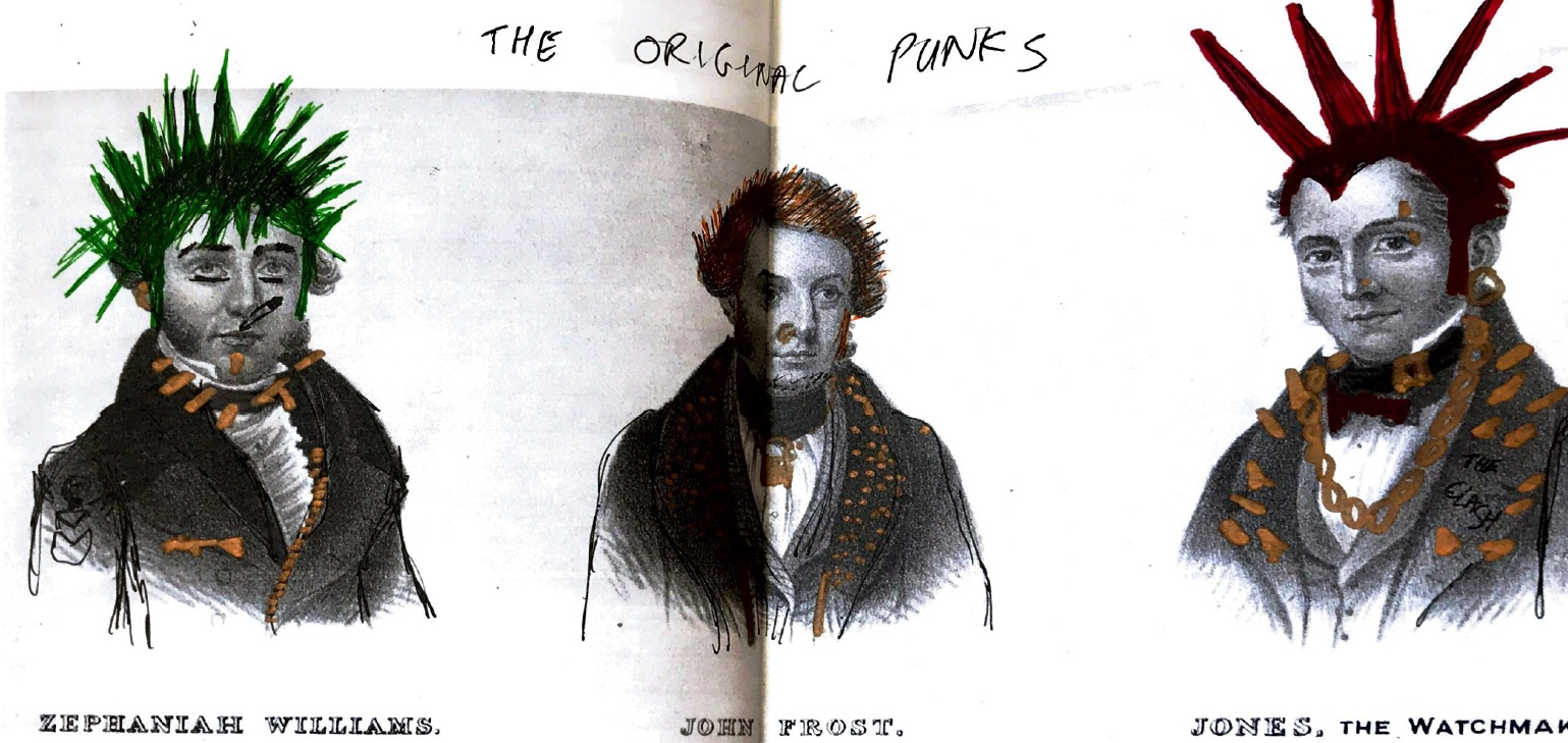 The original concept drawing of the the punk Chartist leaders before Josh worked his magic.