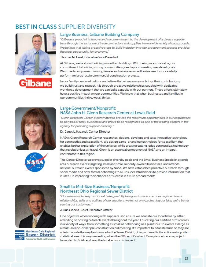 2015 Supplier Diversity - Gilbane, NASA and the Northeast Ohio Regional Sewer District were recognized for their supplier diversity efforts in 2015.