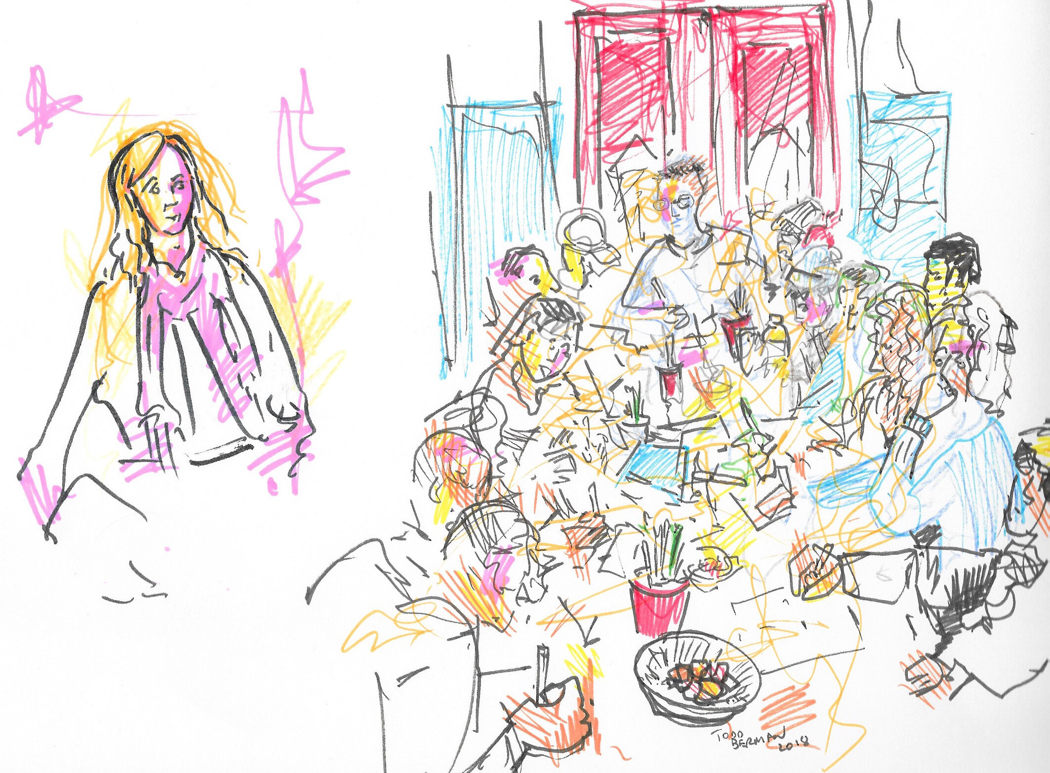 Drawing of Wendy Baker at a Noodle Mania art party.  Drawn by Todd Berman @theartdontstop