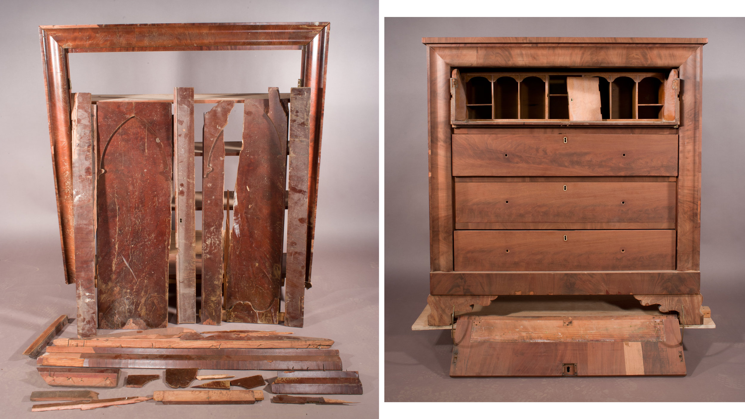 These images clearly illustrate the condition of the bookcase section (left) as it was received for restoration and conservation. And by contrast, the relatively unblemished secretary section (right).